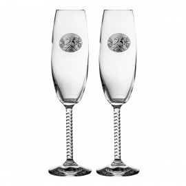 Champagne glasses with rings anniversary 25 years 2 pcs