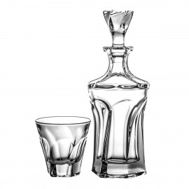 Set of decanter and 6 whisky glasses