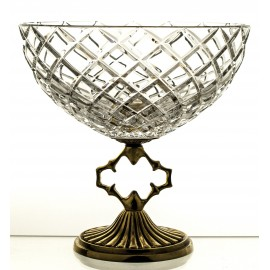 Crystal fruitbowl with brass