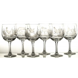 Engraved Crystal Red Wine and Water Glasses, Set of 6 05254