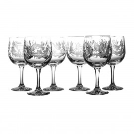 Engraved Crystal Red Wine and Water Glasses, Set of 6 11082