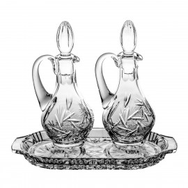 Set of crystal tray and 2 decanters