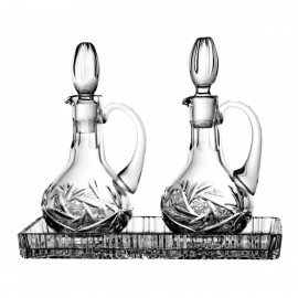 3-Pice Crystal Set of Oil and Vinegar Cruets and Tray 4160