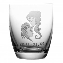 Crystal Whisky Glass with Zodiac Sign Gemini 05609