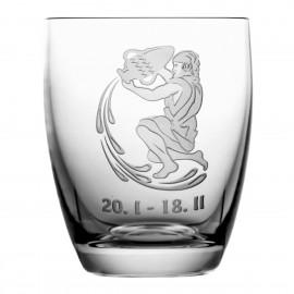 Crystal Whisky Glass with Zodiac Sign Aquarius 05619