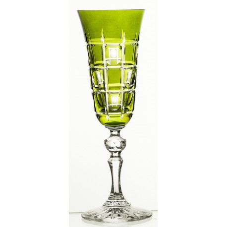 Set of painted crystal champagne glasses 6 pcs