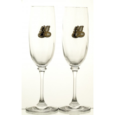Champagne glasses with rings anniversary 50 years 2 pcs