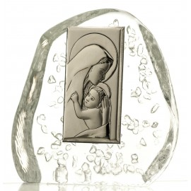 Crystal block paperweight with God's Mother