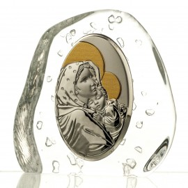 Crystal Paperweight with Mary and Baby Jesus