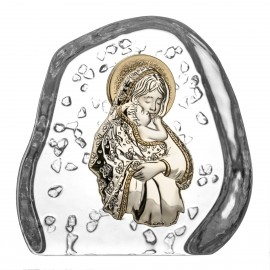 Crystal Paperweight with Mary and Baby Jesus 3947