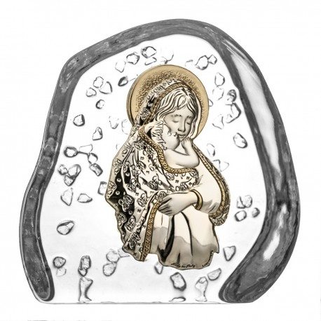 Crystal block, paperweight with God's Mother and Child - 3947 -