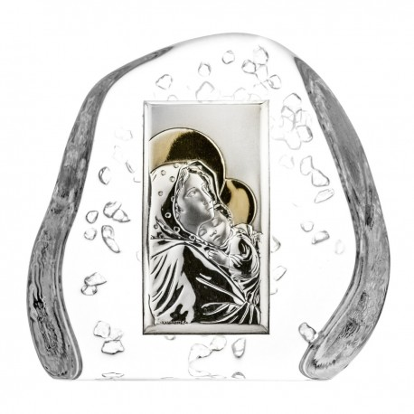 Crystal block paperweight with God's Mother and Child