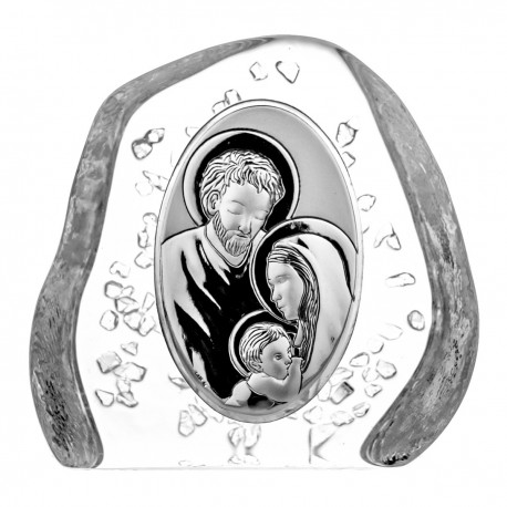Crystal block, paperweight with Holy Family - 4499