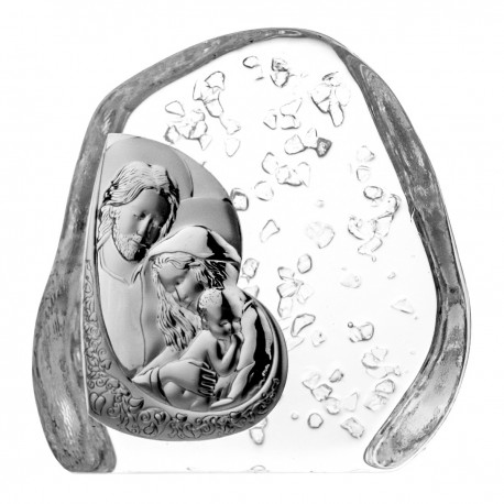 Crystal block, paperweight with Holy Family -4500