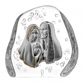 Crystal block paperweight with Holy Family for Baptism