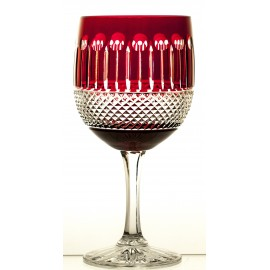 Crystal Painted Red Wine and Water Glasses Set of 6, 16368