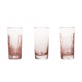 Painted Crystal Long drink Glasses Set of 3