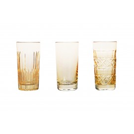 Painted Crystal Long Drink Glasses, Set of 3 14689