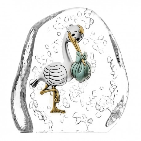 Crystal block paperweight with stork