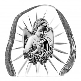 Crystal Paperweight with Praying Angel 07089