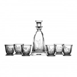 Engraver set of crystal decanter and 6 whisky glasses