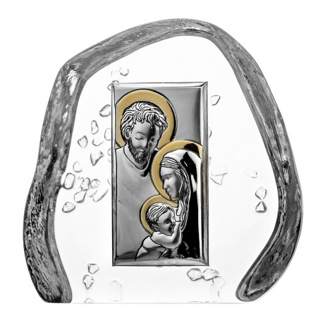 Crystal block paperweight with Holy Family - 4498