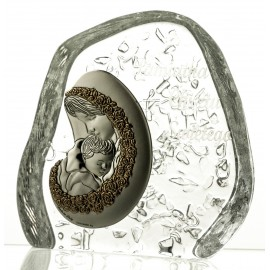 Crystal Paperweight with Mary and Baby Jesus 03988