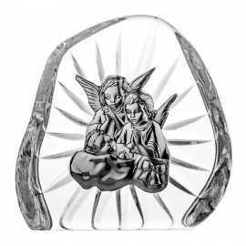 Crystal Paperweight with Angels and Child 07090