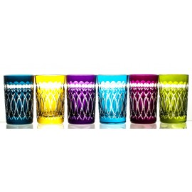 Crystal Painted Tea Glasses Set of 6