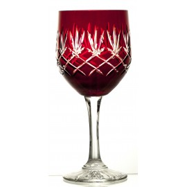 Crystal Painted Red Wine and Water Glasses Set of 6