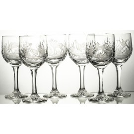 Engraved Crystal Red Wine Glasses Set of 6