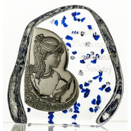 Crystal block, paperweight with praying girl, First Holy Communion (religious giftware) - 3394 -