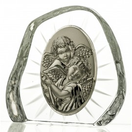 Crystal block, paperweight with Angels for Baptism (religious giftware) - 7250 -
