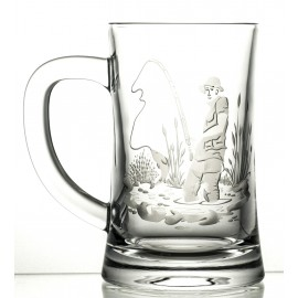 Crystal engraved beer mug