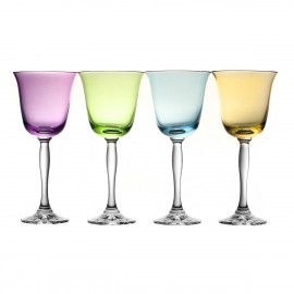 Painted Red Wine and Water Glasses Fluo Set of 4 10261
