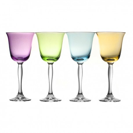 Painted Red Wine and Water Glasses Set of 4 Fluo