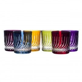 Vasos de whisky cristal color 6 piezas