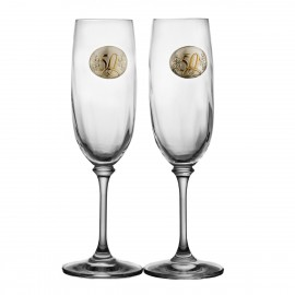 50th Wedding Anniversary Crystal Champagne Glasses, Set of 2 11074