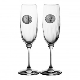 Wedding Anniversary Crystal Champagne Glasses, Set of 2 (10234)