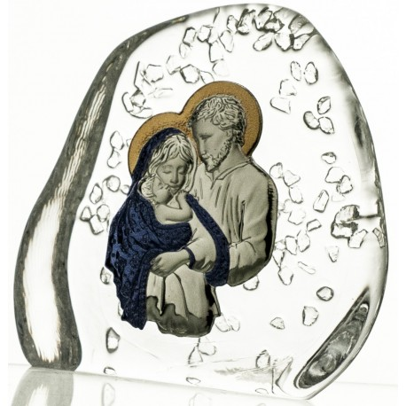 Crystal block, paperweight with Holy Family - 3948