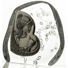 Crystal block, paperweight for First Holy Communion with praying girl -7300