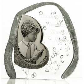 Crystal block, paperweight with praying boy, First Holy Communion (religious giftware) - 7302