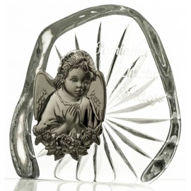 Crystal block, paperweight with Angel for Baptism (religious giftware) -7330-